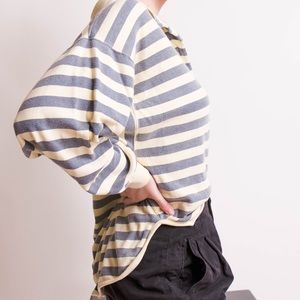 Vintage Tops - SALE Vintage gray striped collared Henley shirt